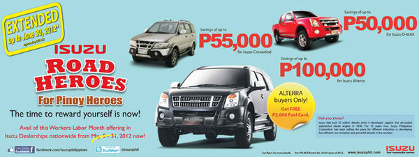 Isuzu Promo for June 2012 – P100k off on the Alterra and more
